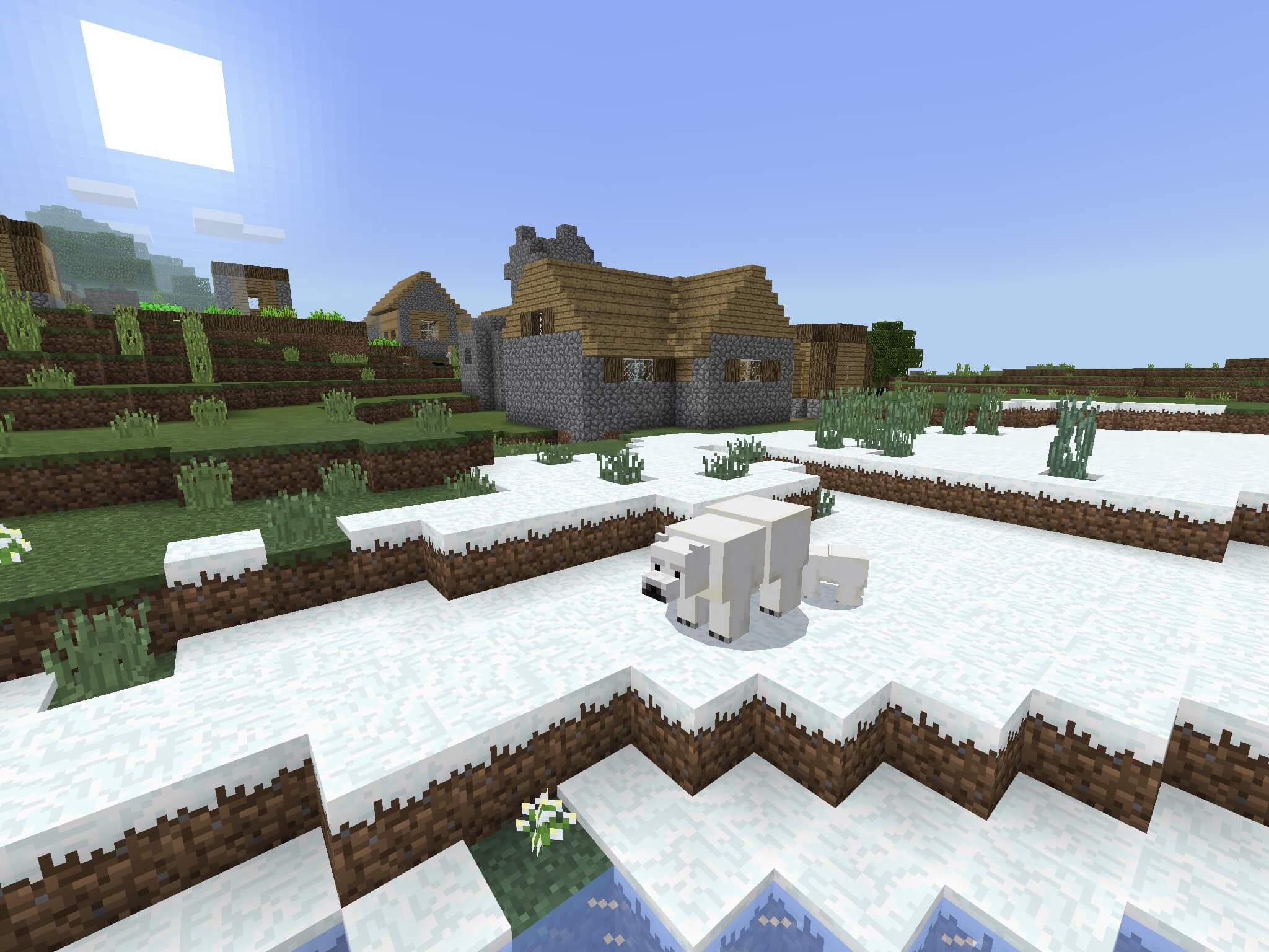 10 – A Blacksmith Village in a Snow Biome  Seed Minecraft PE